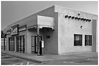 Post office in adobe style, Rancho de Taos. Taos, New Mexico, USA (black and white)