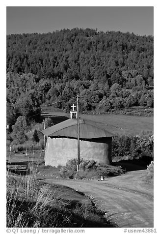 Rural church with adobe walls and tin roof. New Mexico, USA (black and white)