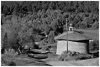 Village church. New Mexico, USA (black and white)