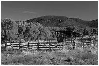 Cattle enclosure, Picuris Pueblo. New Mexico, USA (black and white)