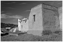 Rear of San Lorenzo Church, Picuris Pueblo. New Mexico, USA (black and white)
