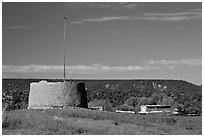 Round house kiva and homes, Picuris Pueblo. New Mexico, USA (black and white)