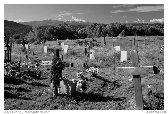 Crosses and headstones, cemetery, Picuris Pueblo. New Mexico, USA (black and white)