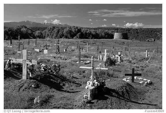 Cemetery and kiva, Picuris Pueblo. New Mexico, USA (black and white)