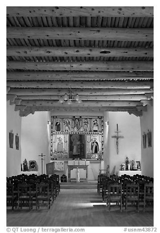 Inside of Picuris Church, Picuris Pueblo. New Mexico, USA (black and white)