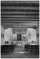 Inside of Picuris Church, Picuris Pueblo. New Mexico, USA ( black and white)