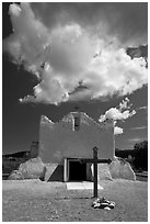 Adobe church and clouds, Picuris Pueblo. New Mexico, USA (black and white)