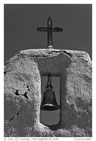 Bell, Cross and adobe wall,  San Lorenzo Church,. New Mexico, USA