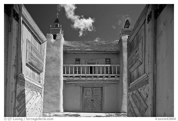 Church San Jose de Gracia seen through front doors. New Mexico, USA (black and white)