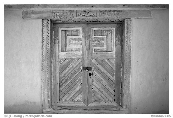 Door of San Jose de Gracia Church. New Mexico, USA (black and white)