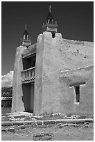 San Jose de Gracia adobe church. New Mexico, USA (black and white)
