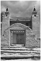 San Jose de Gracia church. New Mexico, USA (black and white)