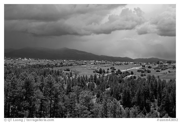 Truchas and Sangre de Christo Mountains with approaching storm. New Mexico, USA (black and white)