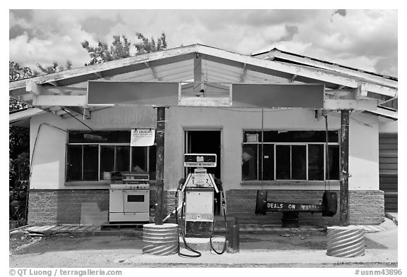 Gas station, Truchas. New Mexico, USA (black and white)