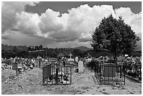 Fenced tombs, Truchas. New Mexico, USA (black and white)