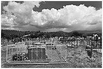 Cemetery and clouds, Truchas. New Mexico, USA (black and white)