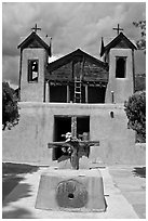 Chapel, Chimayo sanctuary. New Mexico, USA (black and white)