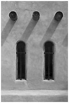 Vigas and deep windows in pueblo style, Sanctuario de Chimayo. New Mexico, USA (black and white)
