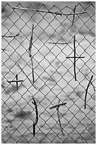 Crosses made of twigs on chain-link fence, Sanctuario de Chimayo. New Mexico, USA ( black and white)