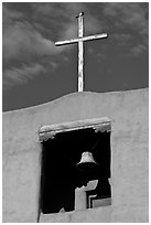 Bell tower, Chapel de San Miguel. Santa Fe, New Mexico, USA ( black and white)
