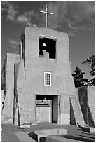 Chapel  San Miguel, oldest church in the US. Santa Fe, New Mexico, USA (black and white)