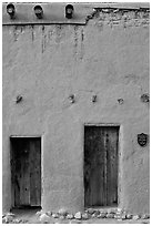 Facade detail of building considered oldest house in america. Santa Fe, New Mexico, USA (black and white)