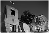 Church of San Miguel by night. Santa Fe, New Mexico, USA (black and white)