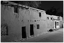 Oldest house in the US at night. Santa Fe, New Mexico, USA (black and white)