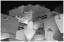 Detail of pueblo style architecture of Loreto Inn. Santa Fe, New Mexico, USA (black and white)