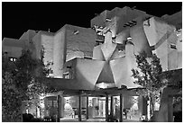 Loreto Inn by night. Santa Fe, New Mexico, USA (black and white)