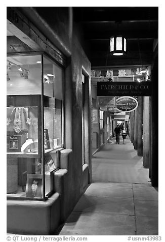Gallery and columns by night. Santa Fe, New Mexico, USA (black and white)