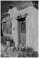 Flowers, adobe wall, and weathered door. Santa Fe, New Mexico, USA ( black and white)
