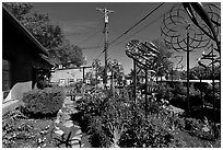 Gallery front yard with contemporary sculptures. Santa Fe, New Mexico, USA ( black and white)