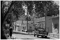 Canyon Road and art galleries. Santa Fe, New Mexico, USA ( black and white)