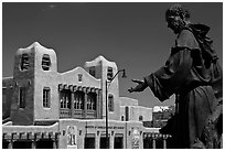 Statue and Institute of American Indian arts museum. Santa Fe, New Mexico, USA (black and white)