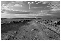 Unpaved road leading to Chaco Canyon. Chaco Culture National Historic Park, New Mexico, USA ( black and white)