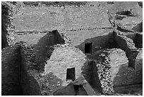 Interconnected rooms, Pueblo Bonito. Chaco Culture National Historic Park, New Mexico, USA ( black and white)