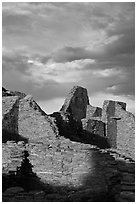 Last light on ruined walls, Pueblo Bonito. Chaco Culture National Historic Park, New Mexico, USA ( black and white)