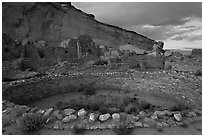 Pueblo Bonito at the foot of Chaco Canyon northern rim. Chaco Culture National Historic Park, New Mexico, USA (black and white)