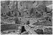 Many rooms of the Pueblo Bonito complex. Chaco Culture National Historic Park, New Mexico, USA ( black and white)