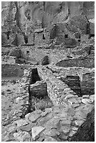 Ancient Pueblo Bonito ruins. Chaco Culture National Historic Park, New Mexico, USA (black and white)