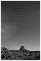 Star trails over Fajada Butte. Chaco Culture National Historic Park, New Mexico, USA (black and white)