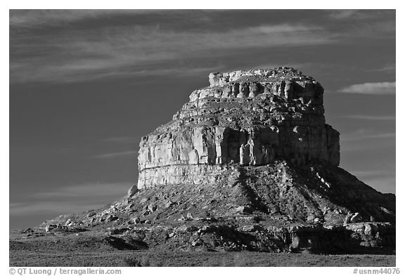Fajada Butte, early morning. Chaco Culture National Historic Park, New Mexico, USA (black and white)