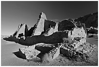 Pueblo Bonito, early morning. Chaco Culture National Historic Park, New Mexico, USA ( black and white)