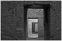 Ancient masonery walls and doors. Chaco Culture National Historic Park, New Mexico, USA ( black and white)