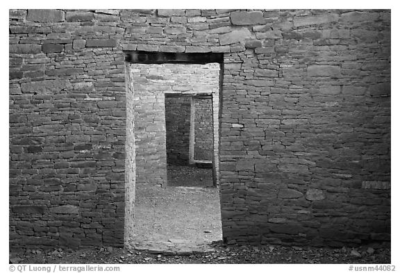 Aligned doorways. Chaco Culture National Historic Park, New Mexico, USA (black and white)