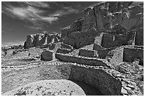 Ancient pueblo. Chaco Culture National Historic Park, New Mexico, USA ( black and white)