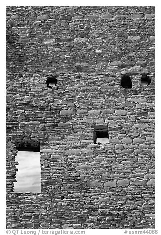 Sky seen from masonery wall windows. Chaco Culture National Historic Park, New Mexico, USA (black and white)