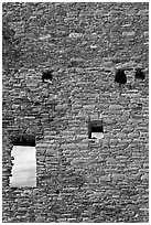 Sky seen from masonery wall windows. Chaco Culture National Historic Park, New Mexico, USA ( black and white)