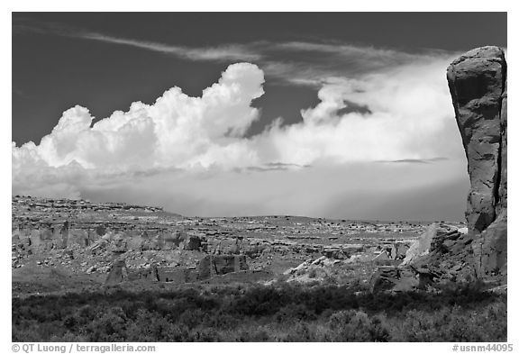 Pueblo Bonito, cliff, and clouds. Chaco Culture National Historic Park, New Mexico, USA (black and white)